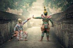 Asian warriors on bridge Stock Images