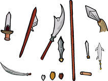Asian Weapons Set I. Set of 11 ancient Chinese weapons with interchangeable parts Stock Photos