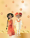 Asian wedding. An illustration of an asian wedding with a man and woman dressed in saree and salwar kameez with intricate designs on a gold background Stock Photography