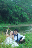 Asian wedding couple Stock Images