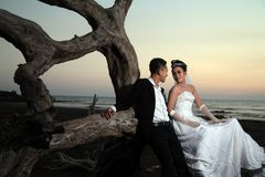 Asian wedding couple outdoor Royalty Free Stock Photo