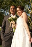 Asian wedding couple in tropical location Stock Image
