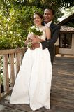 Asian wedding couple in tropical location Stock Images