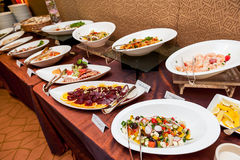 Asian and Western buffet food Royalty Free Stock Images