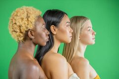 Asian, White European Girls And Black African American Beautiful Sexy Young Womens With Natural Healthy Skin Smiling On Royalty Free Stock Image