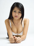 Asian in white lingerie Royalty Free Stock Photo