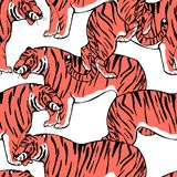 Asian wild animals amur tiger. Trendy animalistic endless pattern. Exotic animals. Cute background for textile, wallpaper,. Pattern fills, covers, surface royalty free illustration