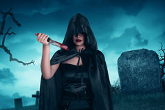 Asian witch woman holding Stock Image