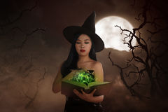 Asian wizard woman holding spell book Royalty Free Stock Image