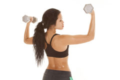 Asian woma weights up back side Stock Photo