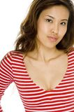 Asian Woman. A beautiful asian woman in red top on white background royalty free stock photos