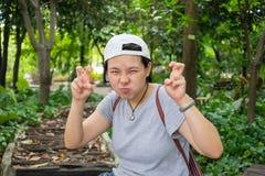 Asian woman act like cat Stock Photos