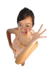 Asian Woman acting cute with hand gestures Royalty Free Stock Photos