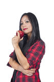 Asian woman and apple Royalty Free Stock Photo