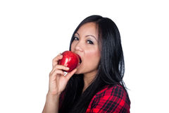 Asian woman and apple Stock Photos