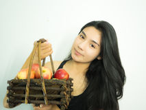 Asian woman and apple Stock Photo