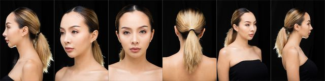 Asian Woman after applying make up hair style royalty free stock photos