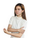 Asian woman with a arm pain  . Stock Photos