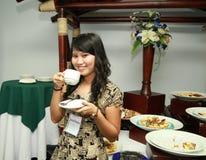 Asian Woman At Coffee Break Royalty Free Stock Photos