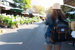 Asian woman with backpack for travel stock photo