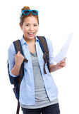 Asian woman with backpack and travel information Stock Images