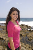 Asian woman at beach Royalty Free Stock Images