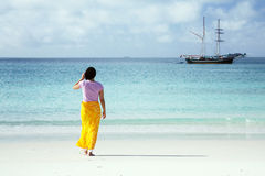 Asian Woman on the beach Stock Photography