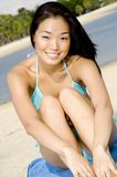 Asian Woman On Beach Stock Image