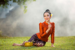 Asian woman Beautiful girl in Laos costume. royalty free stock image