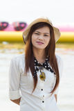 Asian woman in beautiful hat on tropical beach Royalty Free Stock Images