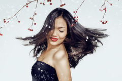 Asian woman beauty face closeup portrait. Beautiful attractive g Royalty Free Stock Image
