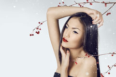 Asian woman beauty face closeup portrait. Beautiful attractive g Stock Photo