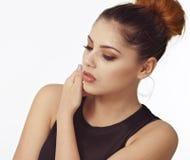 Asian woman beauty face closeup portrait. Beautiful attractive m Stock Image