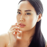 Asian woman beauty face closeup portrait. Beautiful attractive mixed race Chinese Asian / Caucasian female model with Royalty Free Stock Images