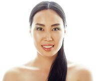 Asian woman beauty face closeup portrait. Beautiful attractive mixed race Chinese Asian / Caucasian female model with Royalty Free Stock Image
