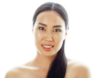 Asian woman beauty face closeup portrait. Beautiful attractive mixed race Chinese Asian / Caucasian female model with Stock Photo