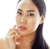Asian woman beauty face closeup portrait. Beautiful attractive mixed race Chinese Asian Caucasian female model with Royalty Free Stock Image
