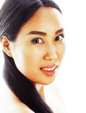 Asian woman beauty face closeup portrait. Beautiful attractive mixed race Chinese Asian Caucasian female model with Stock Images