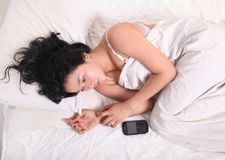 asian woman on bed alone Royalty Free Stock Photo