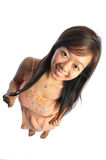 Asian Woman With Big Doll Head Stock Photo