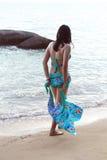 Asian Woman in Bikini On Beach Stock Photo
