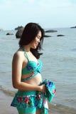 Asian Woman in Bikini On Beach Royalty Free Stock Photo