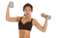 Asian Woman Black Top Lift Weight Serious Royalty Free Stock Photos