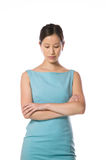 Asian woman with a blue dress Royalty Free Stock Photo