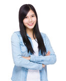 Asian woman with blue jean Stock Images