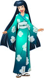 Asian Woman In Blue Kimono. Vector illustration of an asian woman in traditional blue green japanese kimono stock illustration