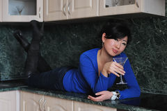 Asian woman in blue shirt Royalty Free Stock Image