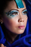 Asian woman in a blue veil Stock Photo
