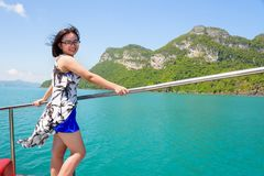 Asian woman on the boat Royalty Free Stock Photos