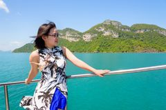 Asian woman on the boat Stock Photo